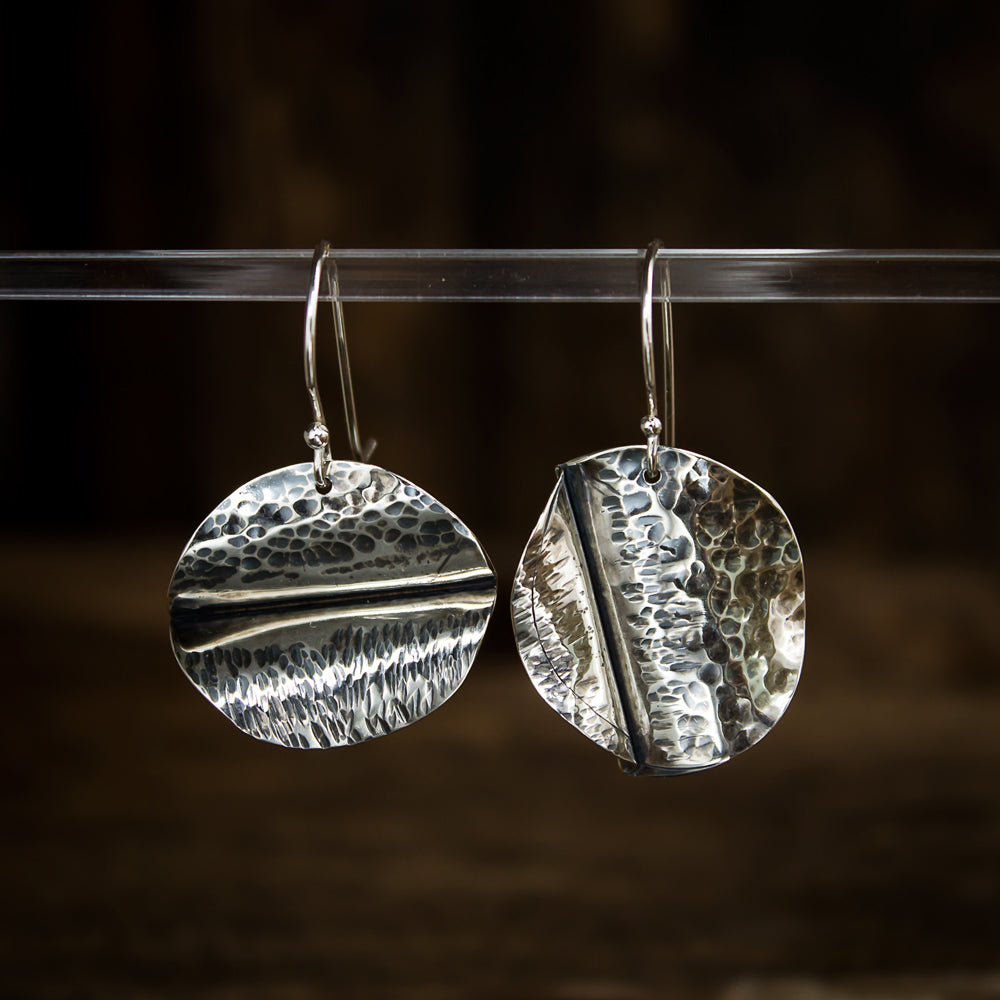 Hammered Sterling Silver Earrings - Original Jewelry by Kristin Ellis