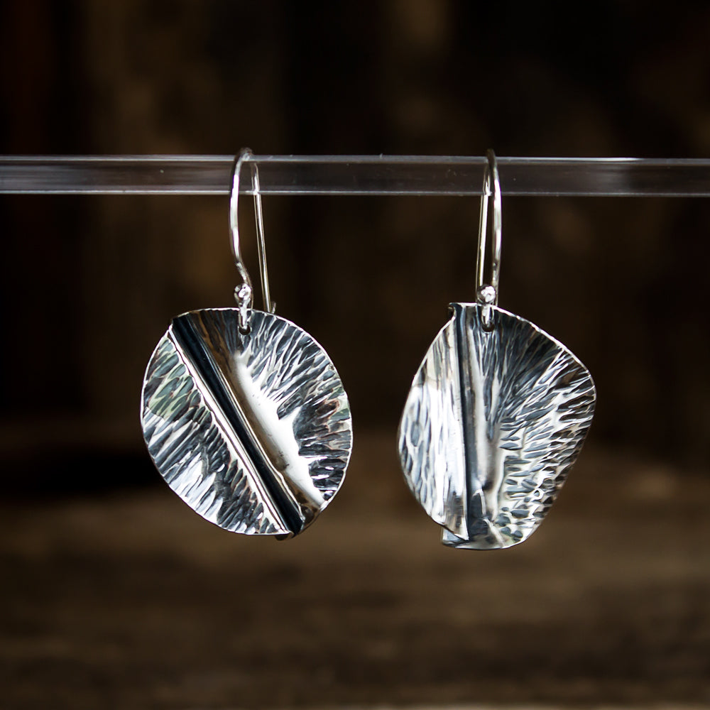 Hammered Sterling Silver Earrings #928 - Original Jewelry by Kristin Ellis