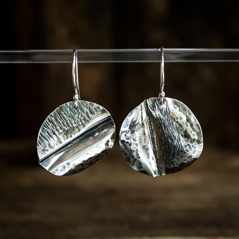 Hammered Sterling Silver Earrings #931 - Original Jewelry by Kristin Ellis