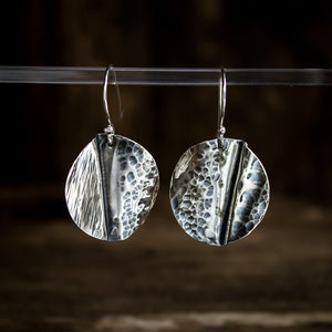 Hammered Sterling Silver Earrings #934 - Original Jewelry by Kristin Ellis