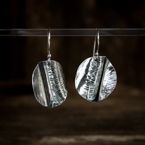 Hammered Sterling Silver Earrings #936 - Original Jewelry by Kristin Ellis