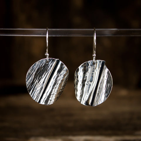 Hammered Sterling Silver Earrings #942 - Original Jewelry by Kristin Ellis