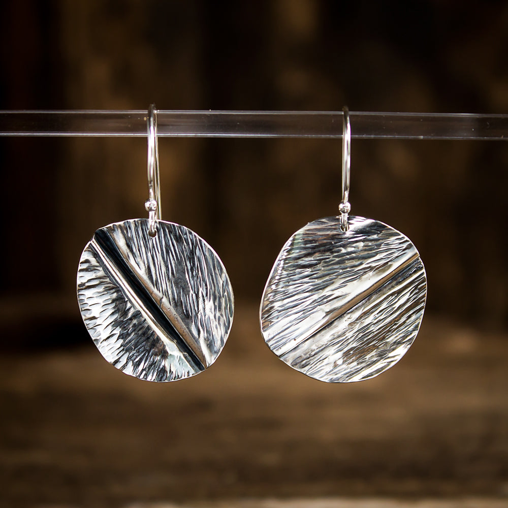 Hammered Sterling Silver Earrings #944 - Original Jewelry by Kristin Ellis