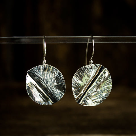 Hammered Sterling Silver Earrings #949 - Original Jewelry by Kristin Ellis