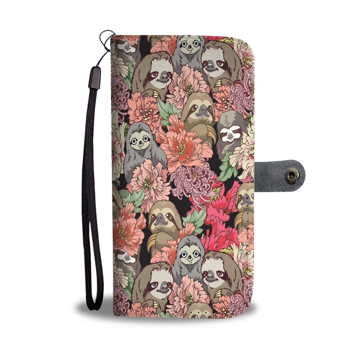 new products bd85d 357cb Flowery Sloth Wallet Phone Case