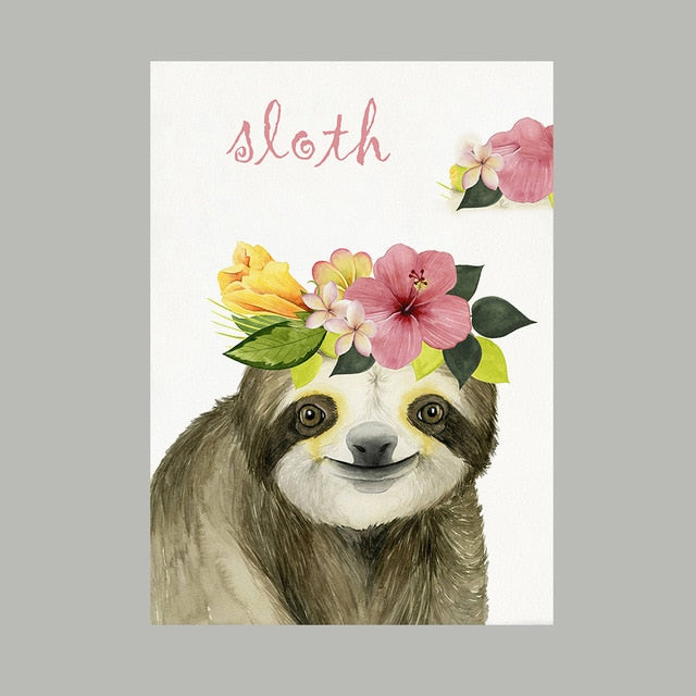 Hanging sloth art Sloth wall art Printed Sloth print Kids room decor
