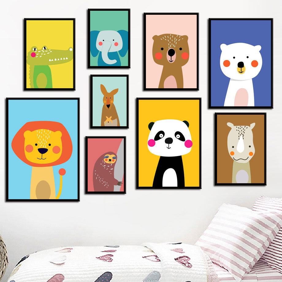 Sloth And Friends Nursery Wall Art Canvas Painting Kids Room Decor