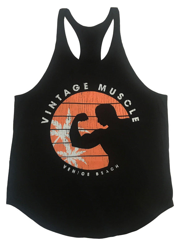 "Venice Beach ""Guns in the Sun"" Stringer Tank - Black - Vintage Muscle"