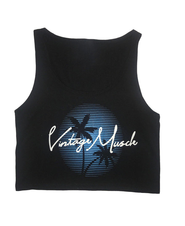 South Beach Sunset Women's Crop-top Tank - Black - Vintage Muscle