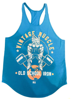 "Vintage Muscle ""Dragonslayer"" Stringer Tank - Coral Blue"