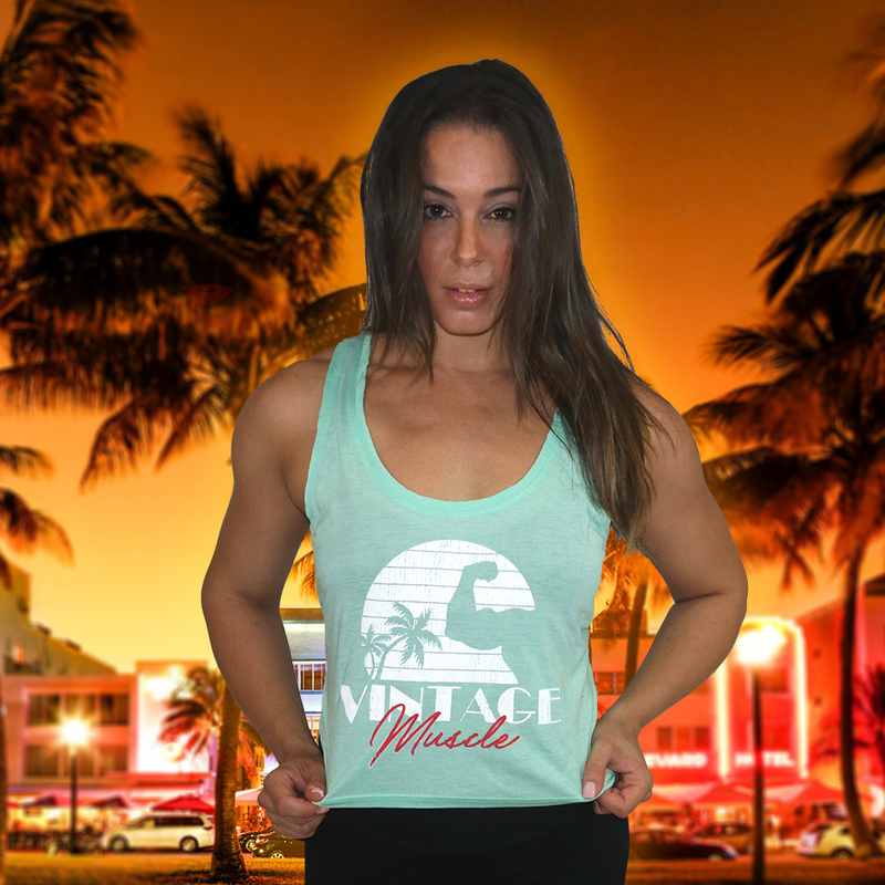Seaside Sunset Women's Crop-top Tank - Mint - Vintage Muscle