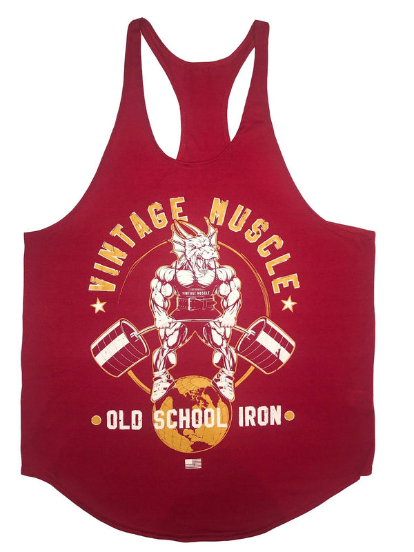 "Vintage Muscle ""Dragonslayer"" Stringer Tank - Big Red - Vintage Muscle"