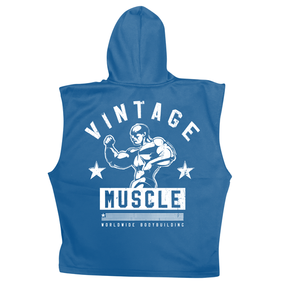 "Vintage Muscle - ""The Gun Show"" Sleeveless Hoodie - Blue"