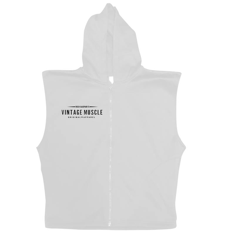 "Vintage Muscle - ""The Gun Show"" Sleeveless Hoodie - Heather Grey"