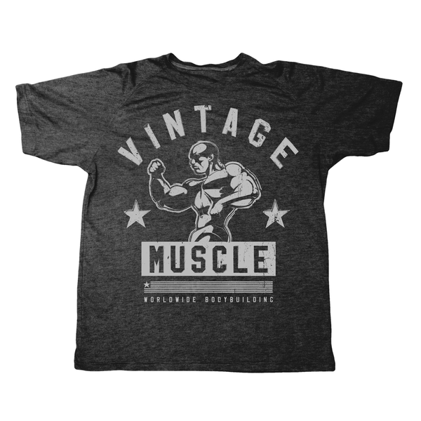 "Vintage Muscle ""Classic 3/4 Pose"" Tee - Iron Black - Vintage Muscle"