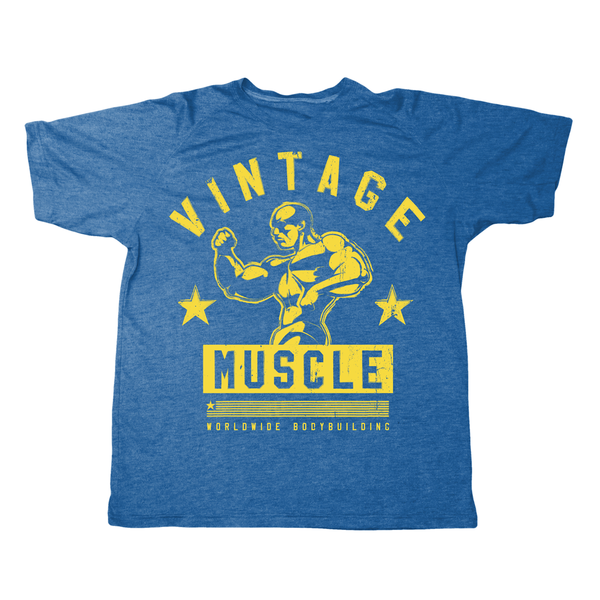"Vintage Muscle ""Classic 3/4 Pose"" Tee - Blue - Vintage Muscle"