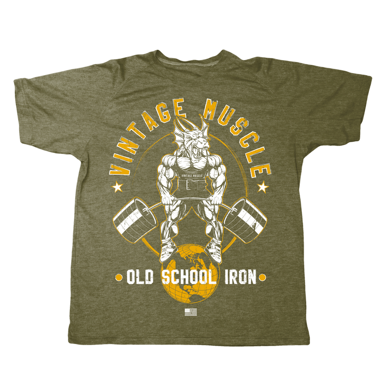 "Vintage Muscle ""Dragonslayer"" Tee - Military Green"
