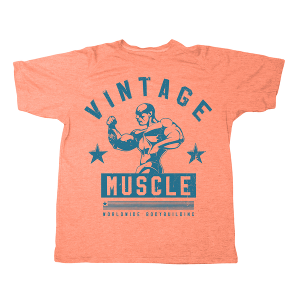 "Vintage Muscle ""Classic 3/4 Pose"" Tee - Orange - Vintage Muscle"