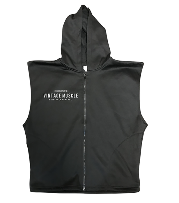 "Vintage Muscle - ""The Gun Show"" Sleeveless Hoodie - Black"