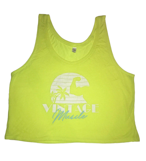 Seaside Sunset Women's Crop-top Tank - Neon Yellow - Vintage Muscle