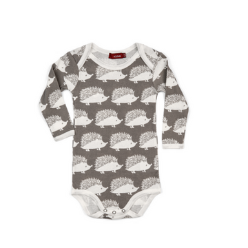 milkbarn organic long-sleeve one piece in grey hedgehog