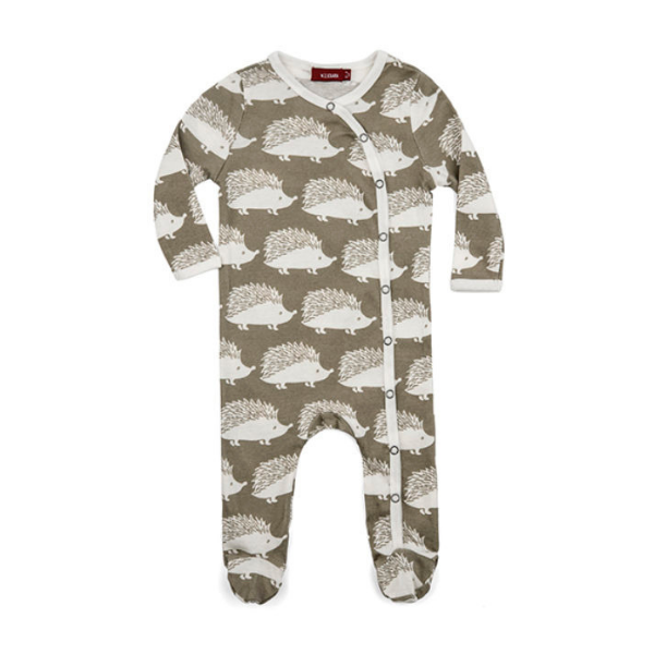 milkbarn organic cotton footed romper in grey hedgehog