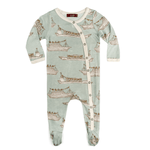 milkbarn footed romper in blue ships