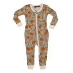 milkbarn bamboo zipper pajama in grey floral