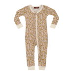 milkbarn bamboo zipper pajama in rose floral
