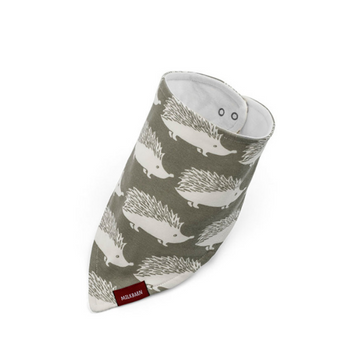milkbarn organic kerchief bib in grey hedgehog