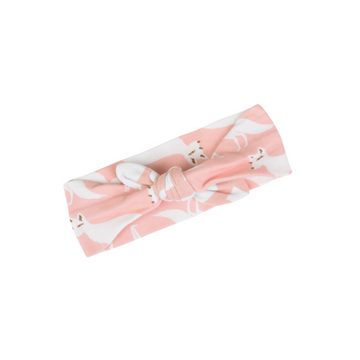 milkbarn organic cotton headband in pink fox