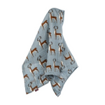 organic muslin swaddle in blue buck for baby