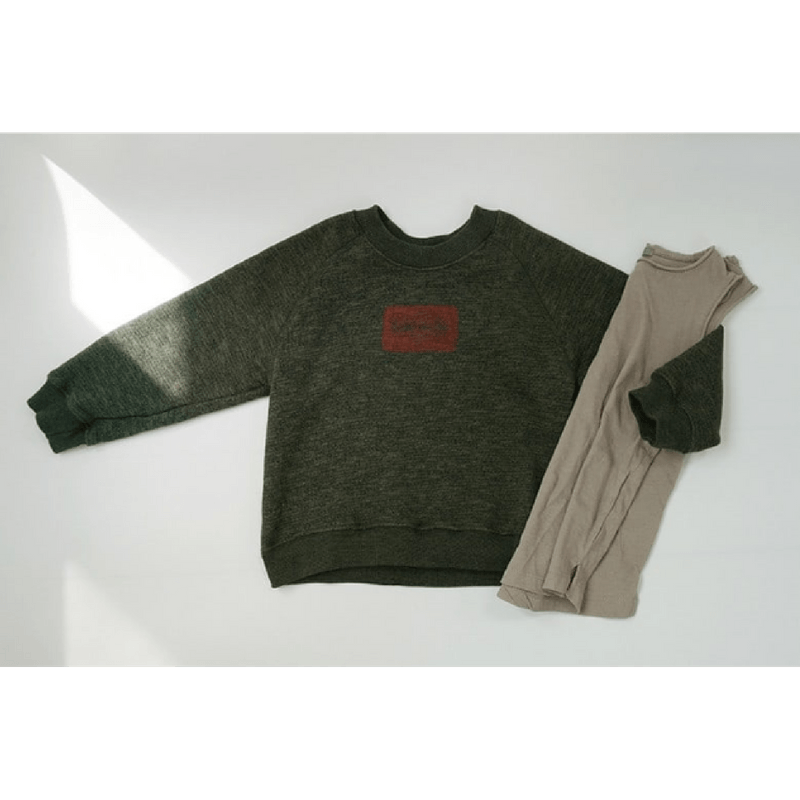 stamp sweatshirt in khaki