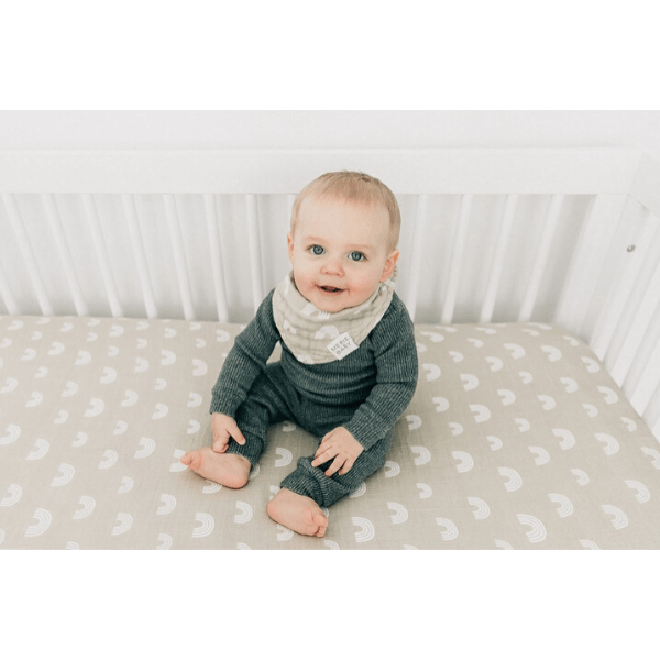 Baby_On_Mebie Baby Cotton Muslin Unisex Crib Sheet, Sand Rainbow