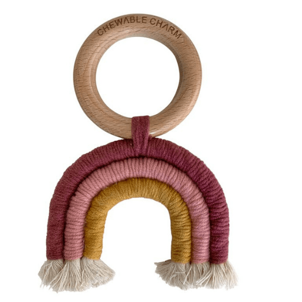 CHEWABLE CHARM rainbow macrame teether berry and mustard