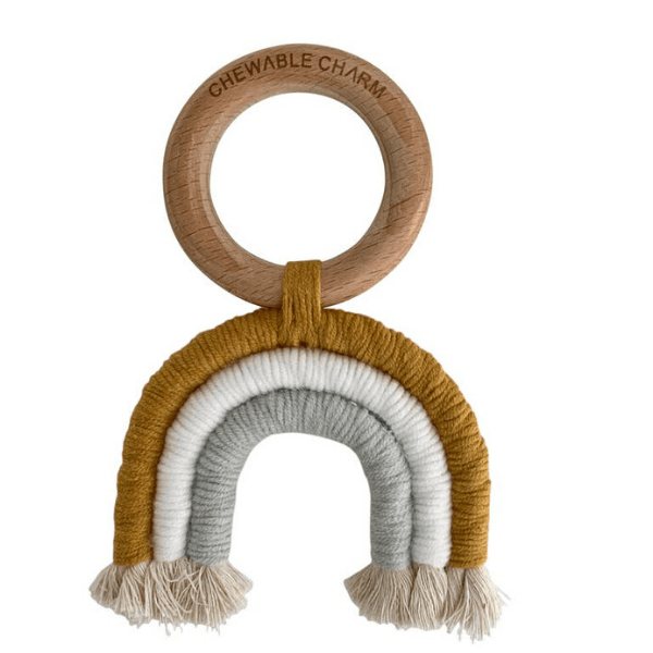 CHEWABLE CHARM rainbow macrame teether mustard and grey