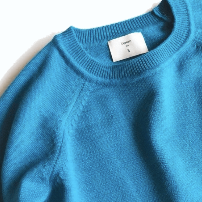 cos knit sweater, curious blue