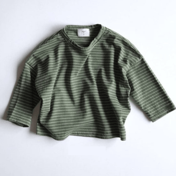uni stripe tee, green (2 + 6-7y)