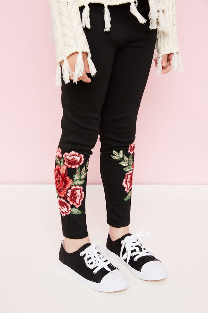floral embroidered leggings cotton