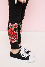 floral embroidered leggings elastic waistband