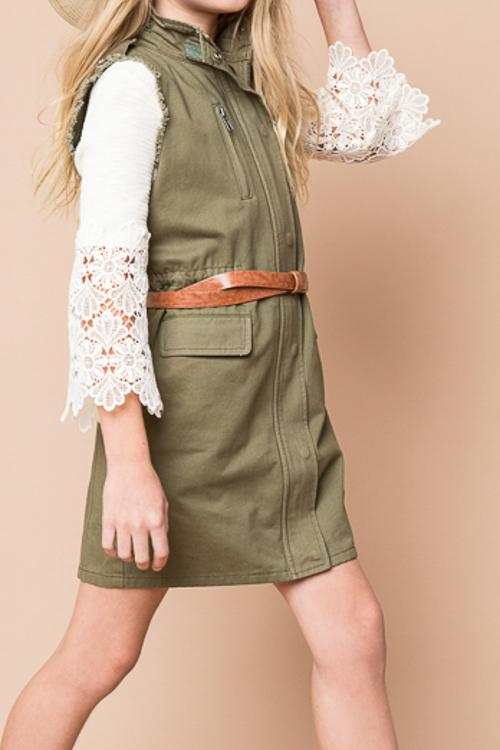military vest fringe sleeves