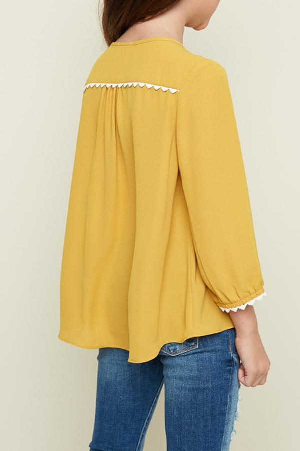 necktie blouse in mustard for girls