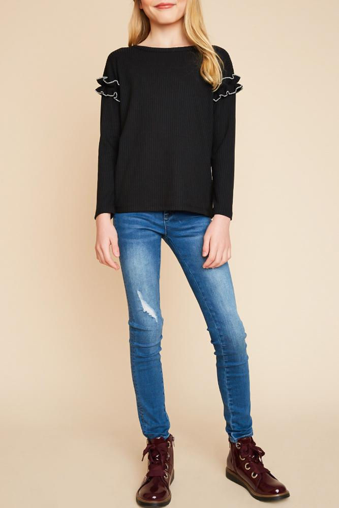 ribbed knit top with ruffle sleeve detail for tween girls black