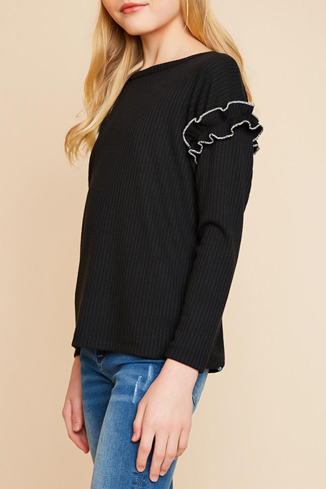 ribbed knit top with ruffle sleeve detail for tween girls relaxed fit