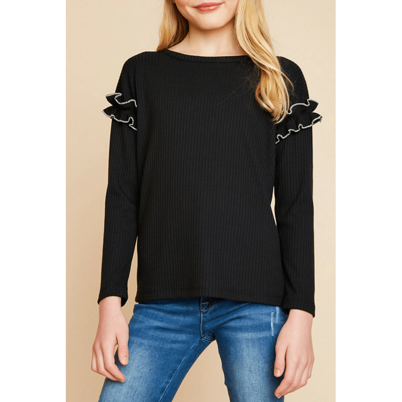 ribbed knit top with ruffle sleeve detail