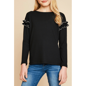 ribbed knit top with ruffle sleeve detail for tween girls
