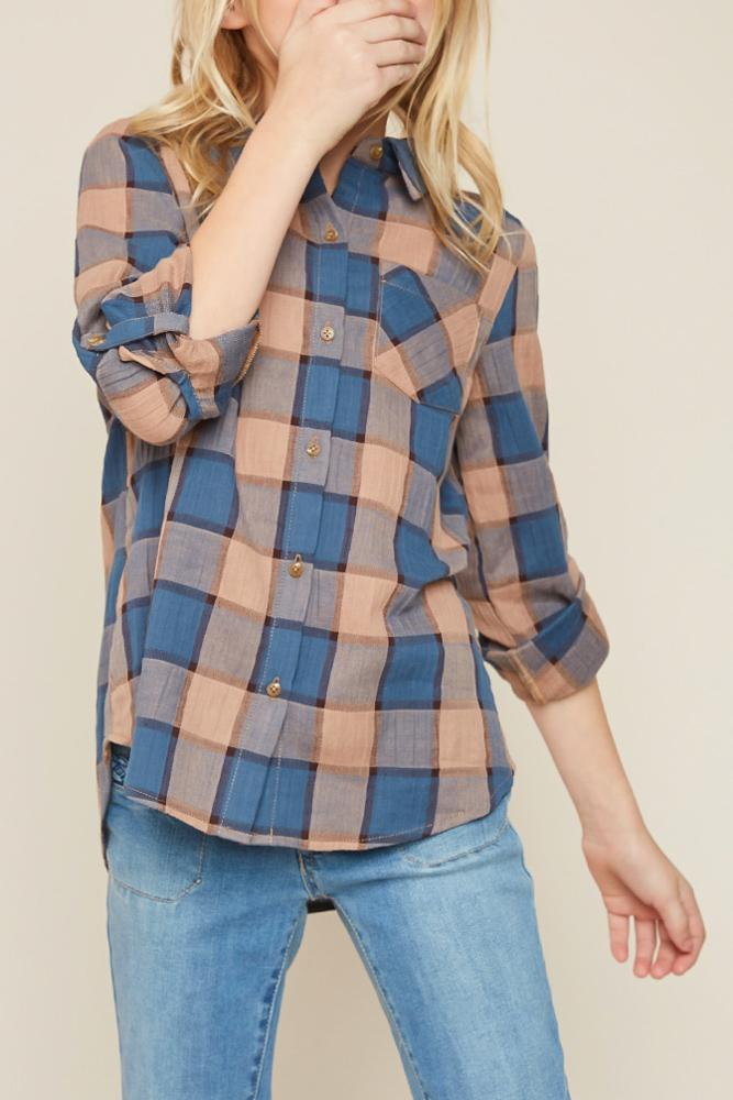 button-up flannel shirt with pocket for tween girls blue mix