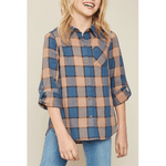button-up flannel shirt with pocket