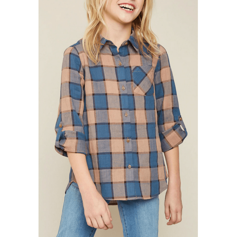 button-up flannel shirt with pocket for tween girls
