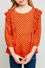ruffle polka-dot blouse for tween girls tomato